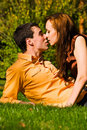 The happy young couple kisses on a grass Stock Photography