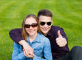 Happy young couple in love having fun Royalty Free Stock Images