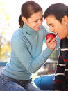 Happy young couple in love outdoors Stock Images
