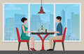 Happy young couple meeting and having lanch at cafe restaurant interior. Vector cartoon illustration.