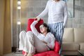 Happy young couple relax at home modern living room indoor Royalty Free Stock Photo