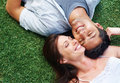 Happy young couple resting in the park Royalty Free Stock Image