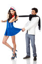 Happy young couple of sailor woman and elegant man Royalty Free Stock Photo