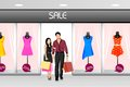 Happy young couple shopping easy to edit vector illustration of Stock Photo