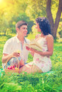 Happy young couple sitting on the grass smiling and speaking Royalty Free Stock Photo