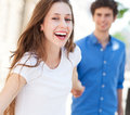 Happy young couple smiling outdoors Stock Photography
