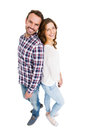 Happy young couple standing back to back portrait of on white ground Stock Images