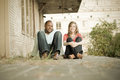 Happy young couple a subdued picture of a biracial Royalty Free Stock Photos
