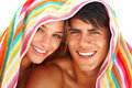 Happy young couple with a towel on their heads Royalty Free Stock Photo