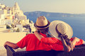 Happy young couple on vacation in greece santorini Stock Image