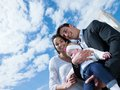 Happy young family at home couple with beautiful new born baby have fun modern Royalty Free Stock Photo