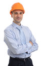 Happy young foreman with hard hat portrait of isolated Stock Images