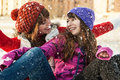 Happy young friends having fun in winter Stock Photos