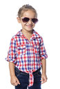 Happy young girl beautiful in checkered shirt and jeans Royalty Free Stock Photography