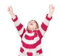 Happy young girl cheering with arms raised close up portrait of a isolated on white background Stock Photography