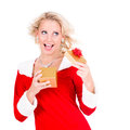 Happy young girl with christmas gift over white background Stock Photography
