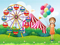 A happy young girl holding balloons near the carnival illustration of Royalty Free Stock Photography