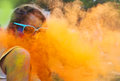 Happy young girl on holi color festival portrait of Royalty Free Stock Images