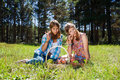 Happy young girls on nature Stock Photo