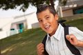 Happy Young Hispanic Boy Ready for School Royalty Free Stock Photo