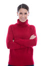 Happy young isolated woman in a red wool pullover and satisfied Stock Photo