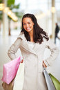 Happy young lady posing with her shopping bags Royalty Free Stock Images