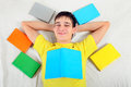 Happy Young Man with the Books Royalty Free Stock Photo