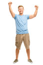 Happy young man celebrating success isolated on white smiling Stock Image