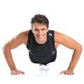 Happy young man doing pushups portrait of healthy on floor isolated on white background Royalty Free Stock Photo