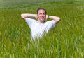Happy young man field green ears portrait sunny day Royalty Free Stock Photography