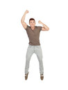 Happy young man jumping isolated on a white background Royalty Free Stock Photos