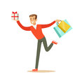 Happy young man in a red pullover running with gift box and shopping bags colorful character vector Illustration
