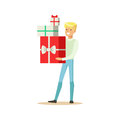 Happy young man standing and holding gift boxes colorful character vector Illustration