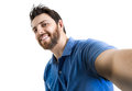 Happy young man taking a selfie photo isolated on white background Royalty Free Stock Photo