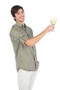 Happy young man with wine glass of white wine looking at camera Stock Images