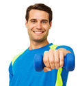 Happy young man working out with dumbbell portrait of over white background horizontal shot Royalty Free Stock Photography