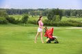 Happy young mother with baby in buggy walking a posing a stroller a park Royalty Free Stock Photos