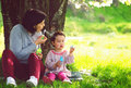 Happy young mother and her daughter blowing soap bubbles in park Royalty Free Stock Images