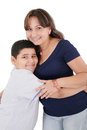 Happy young mother and her son posing together isolated over white Royalty Free Stock Photo