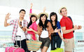 Happy young people tourists Stock Images