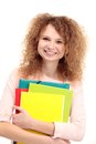 Happy young student girl holding books Stock Photography