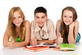 Happy young students with books teens prepare for exams isolated Stock Photo