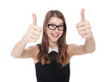 Happy young teenager girl showing thumbs up isolated Royalty Free Stock Photo