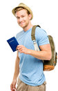 Happy young tourist man holding passport white background Stock Images