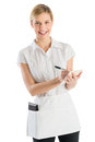 Happy Young Waitress With Order Pad And Pen Royalty Free Stock Photo