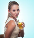 Happy Young Woman with apple juice on white background. Concept