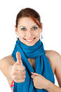 Happy young woman in blue scarf Stock Photo
