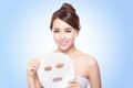 Happy young woman with cloth facial mask isolated on blue background concept for skin care asian Stock Photography