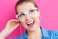 Happy young woman with earbuds Royalty Free Stock Photo