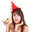 Happy young woman eating cake. Stock Photography
